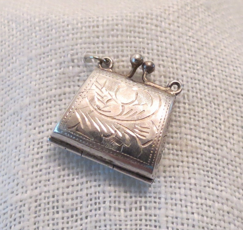 Etched Purse Locket 3D Sterling Silver Charm Pendant