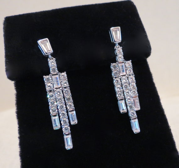 Exquisite CZ & Sterling Silver Chandelier Earrings