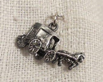 Horse Carriage Buggy Sterling Silver Charm