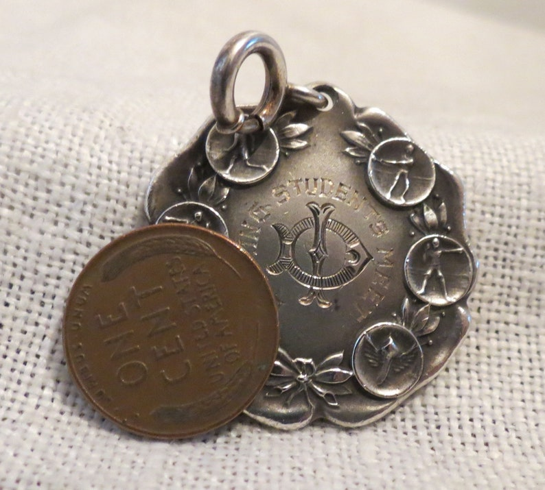 Antique Runnymeade Track Sterling Silver Medal Pendant 1916