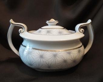 Spode SILVER MIST Bone China Sugar Bowl with Lid England