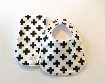 Modern Baby Bib and Burp Cloth Set