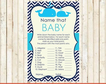Baby Whale Shower Instant Download Name that Baby Game Baby Shower Nautical Theme Baby Blue Whale Party Printable Whale Cards 0025