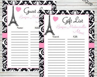 paris guest list sign in gift list bridal shower baby shower birthday party instant download instant printable guest sign in sheet bd60b