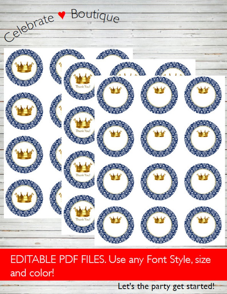 Royal Baby Shower / Birthday 3 Types of Tags ~ Instant Download Editable  Tags, Thank You Tags 2
