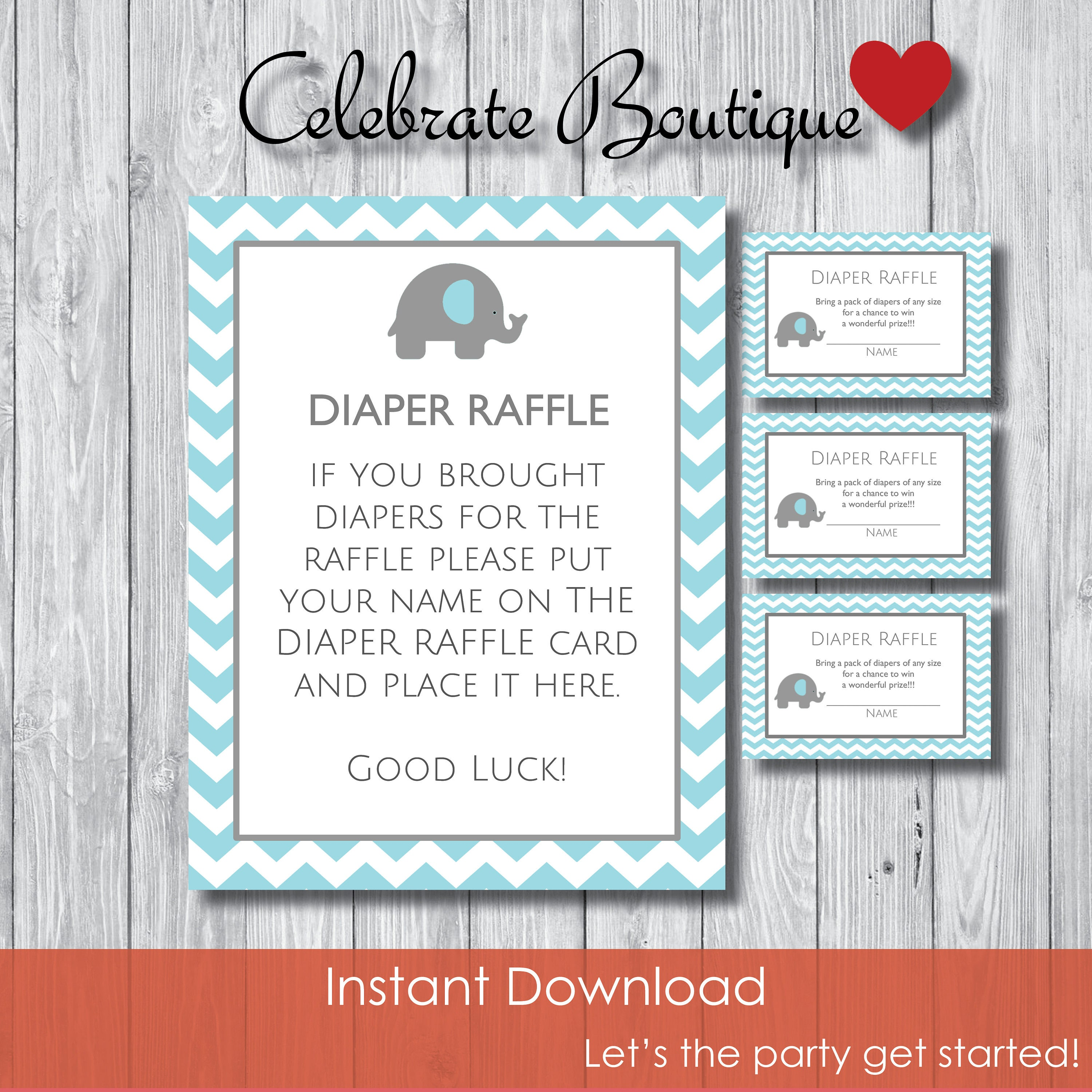 Elephant Diaper Raffle Game Baby Shower Instant Download Baby Etsy