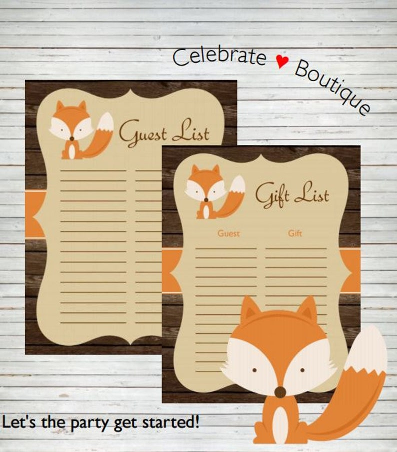 6b74a3ec4f34d Woodland Baby Shower Fox Birthday Party Instant Download Woodland Guest  List Sign-in Gift List Sheets ~ Fox DYI Guest Sign In Sheet A10