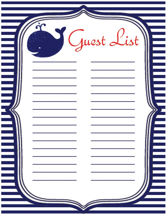 Baby Shower Instant Download Guest List Sign-in Sheet | Etsy