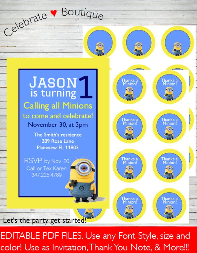 Minions Instant Download Editable Invitation Templates 4x6 Use As Thank You Notes Games Cards