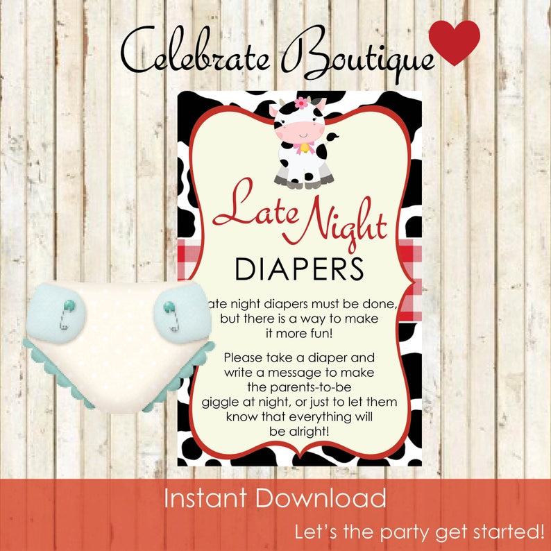 Cow Baby Shower Instant Download Late Night Diapers Baby Shower Farm Theme Animal Party Diaper Game Downloadable Cow Game Printable Cow 0024