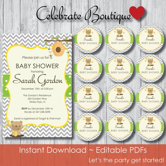 Honey Bear Bumble Bees Baby Shower Package Instant Download Editable Invitation Tags Bear Theme Game Package Honey Bear Invitation 0020