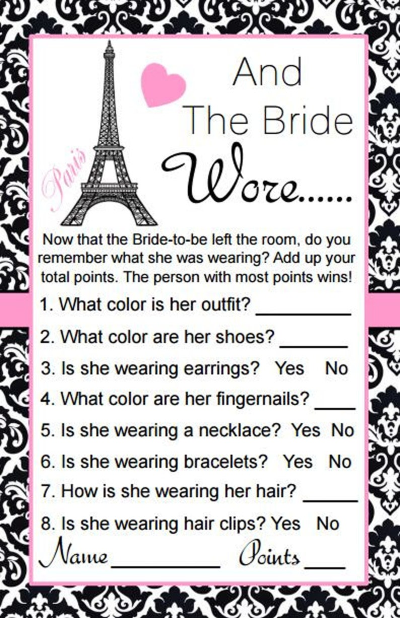 Paris Bridal Shower Instant Download What is The Bride Wearing Game And The bride Wore Game Parisian Theme Eiffel Tower Bridal Shower BD60B