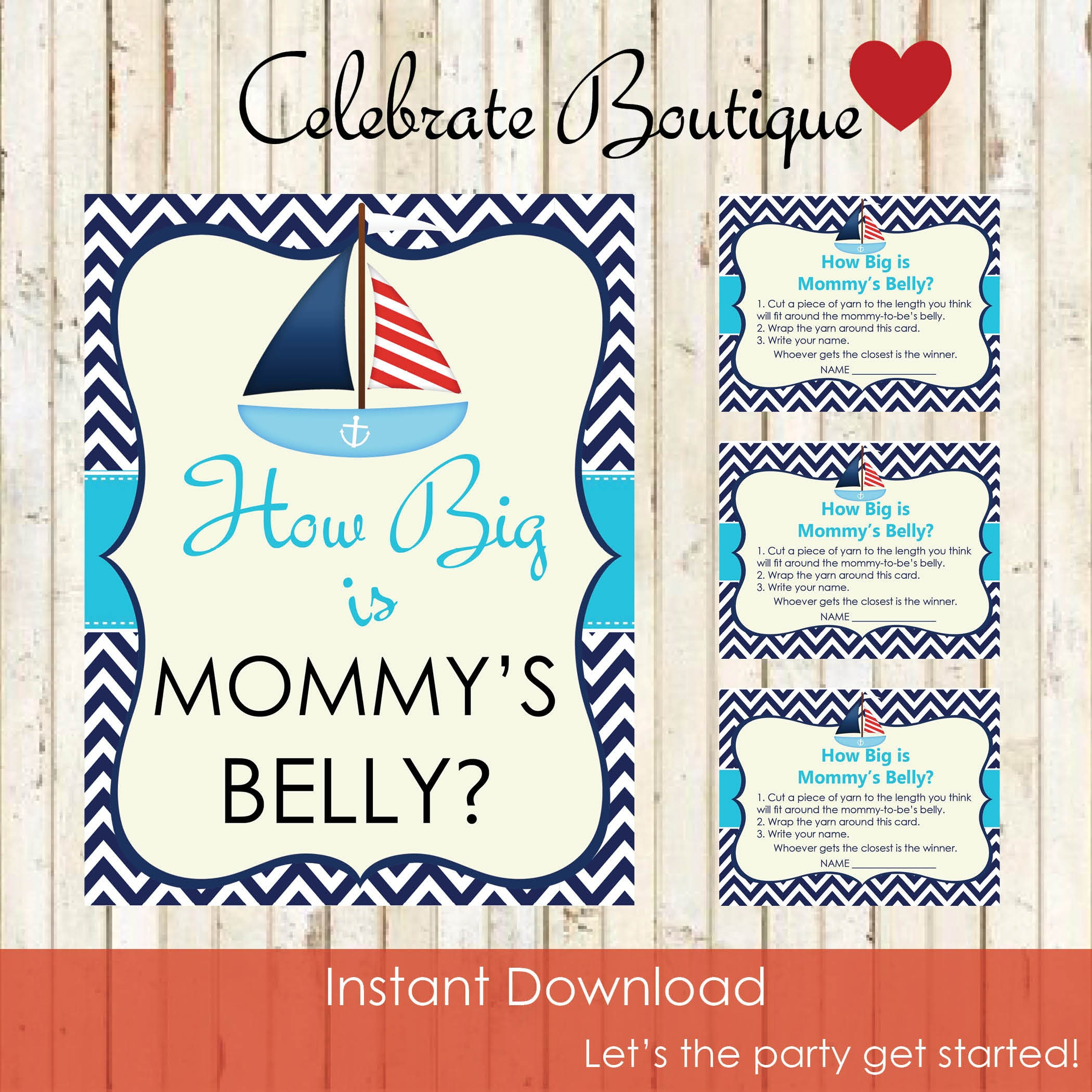 Sea Baby Shower Instant Download How Big Is Mommys Belly