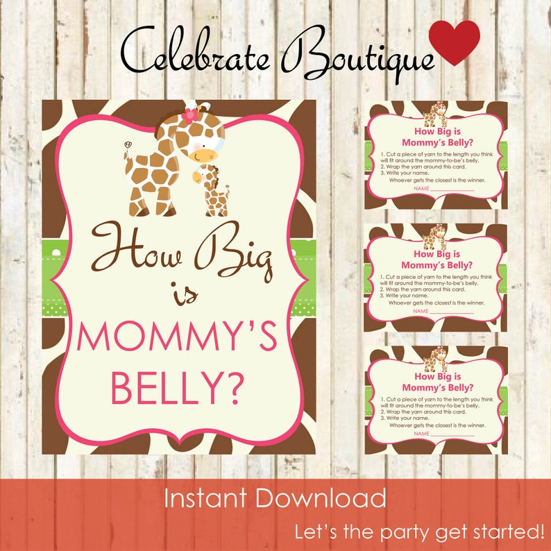 9759c3376 Baby Giraffe Baby Shower Instant Download How Big is