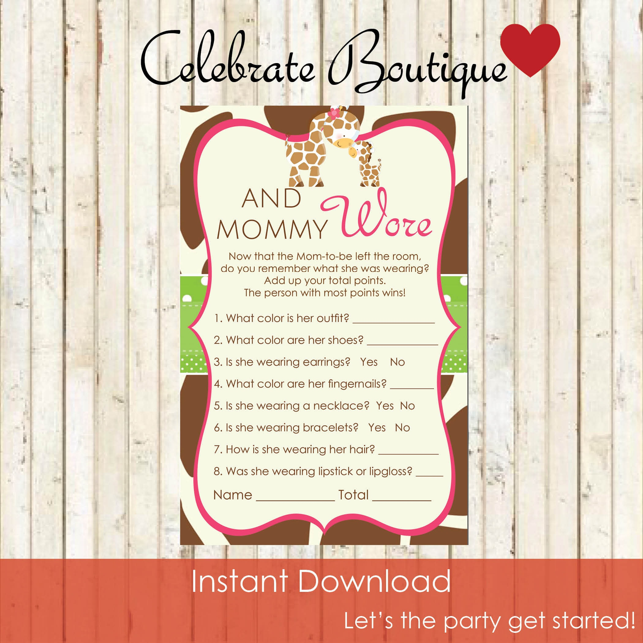74cbd59cc Baby Giraffe Baby Shower Instant Download What is The Mom to