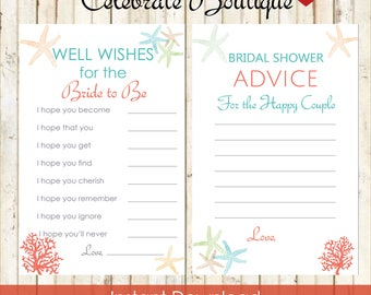 Beach Bridal Shower Instant Download Advice for the Happy Couple Advice for the Bride to Be Well Wishes for the Bride Cards Beach Theme 0001