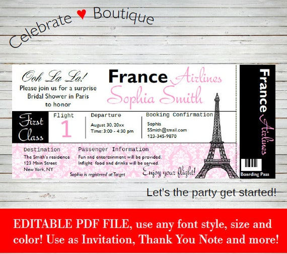 Paris Boarding Pass Bridal Shower Baby Birthday Party