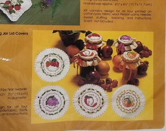 Vintage New NIP Creative Circle Embroidery Crewel Preserves Canning Jar Toppers Lid Covers Strawberry Jam Grape Jelly Apple Butter Marmalade