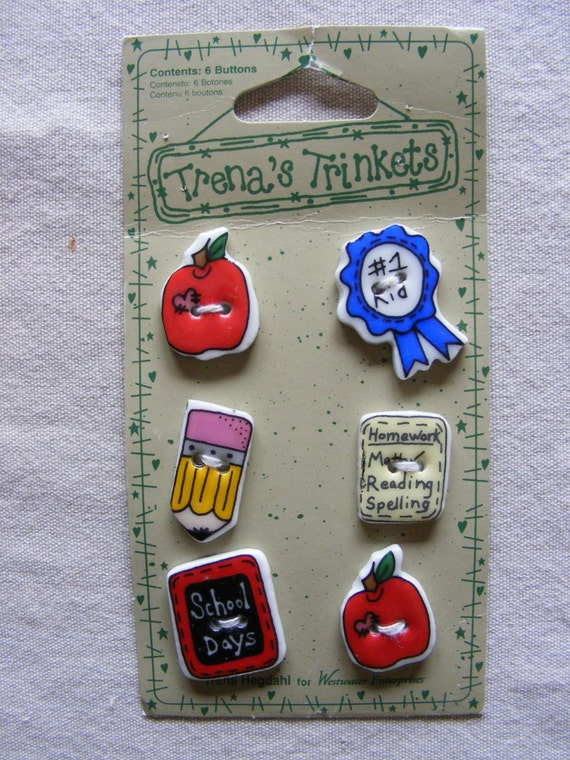 Trena/'s Trinkets Red//Black//White School Chalk Board 6 Square Ceramic Buttons NWT