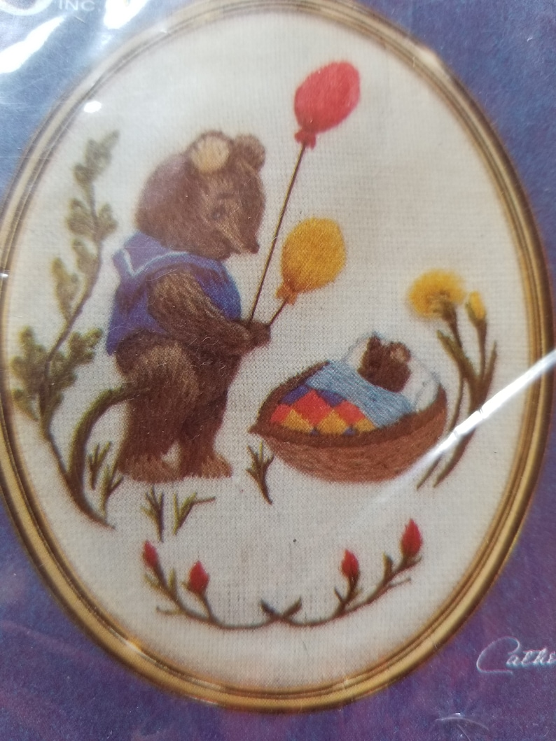 Vintage New NIP Cathy Needlecraft Golden Ovals Curiosity Crewel Embroidery Kit Little Pooh Baby Bear Sailor Balloon Daisy Lavender Rosebud