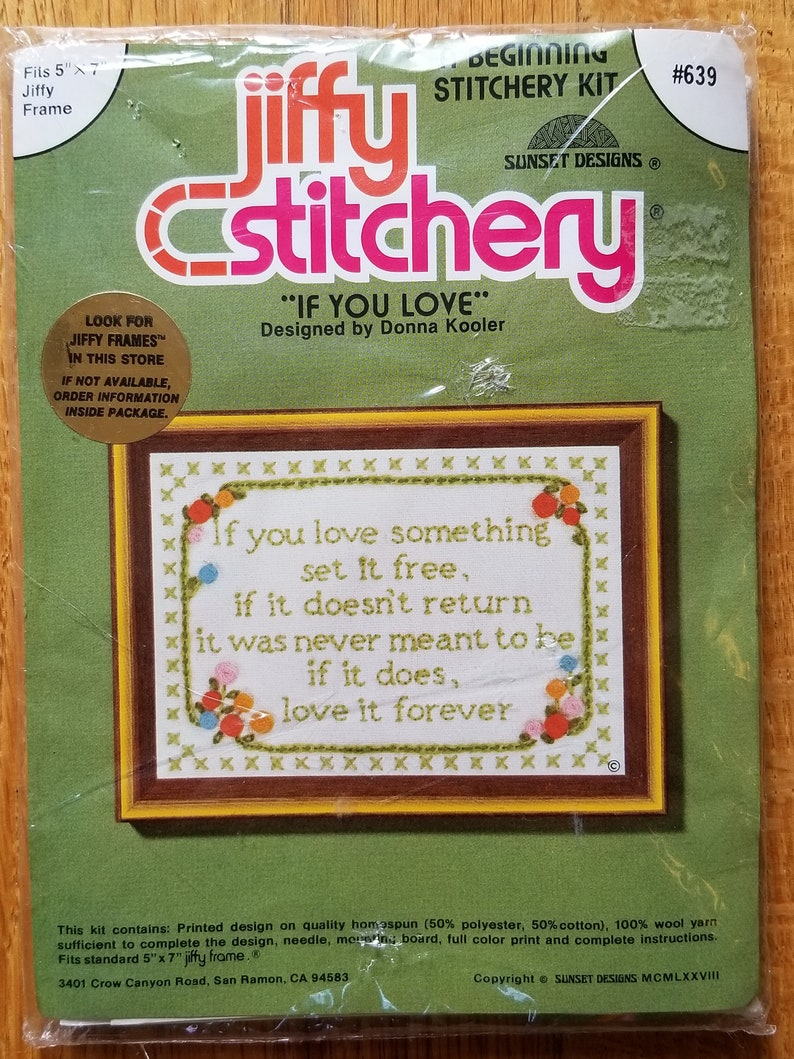 Vintage New NIP Jiffy Stitchery If You Love Something Floral Roses Daisies Beginner Embroidery Kit Engagement Wedding Gift 639 Donna Kooler
