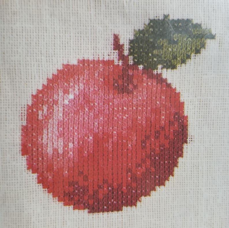 Vintage Pako Handwerken Dutch The Netherland Holland Pear Apple Cross Stitch Needlepoint Norweave Mini Kits Frames Tapestry Weaving Delft
