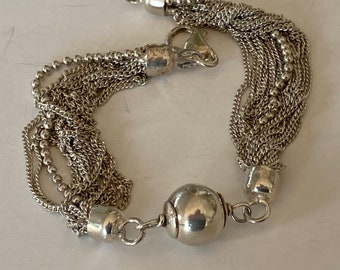 Faceted Barrel /& Round Beads Signed Italy Milor 925 Vintage 1980/'s European Sterling Silver Jewelry Sterling Silver Beaded Bracelet