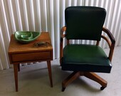 Mid Century Green Wooden Desk Chair