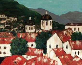 Croatia Original Canvas  Painting 24 wide x 30 high  Commission/Made to Order  Ships in 5 - 7 business days Free shipping