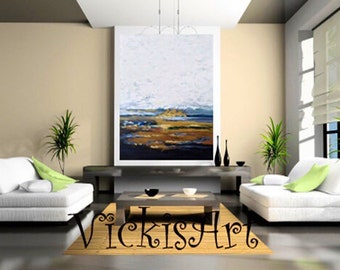Abstract Landscape Custom Original Acrylic Painting on 36 w x 48 h x 1  Gallery Wrapped Canvas Ships Free US except Hawaii ships for 149.00