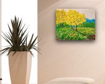 Trees Landscape Original acrylic painting 30 w x 24 hx .75 Ready to  Ship