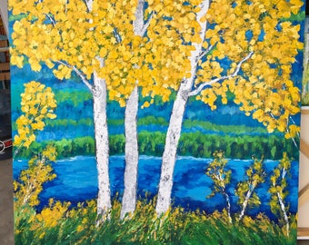 Birch Aspen Tree Lake  Extra Large Original Acrylic Painting on 48 w x 48 h x 1.25 Gallery Wrapped Canvas  Ready to Ship  Wall Art