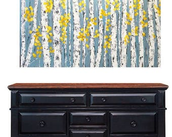 Aspen Birch Tree 60 w x 30 h x 1.75 Extra Large Painting Custom/Commission
