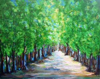 Extra Large Trees Original  Painting  60 x 48 x 1.25 Gallery Wrapped Canvas  Ready To Ship