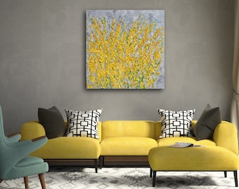 Textured Large Abstract Painting on Canvas. READY TO HANG Extra Large Painting - Wall Art, Modern Contemporary Yellow, Grey 36x36