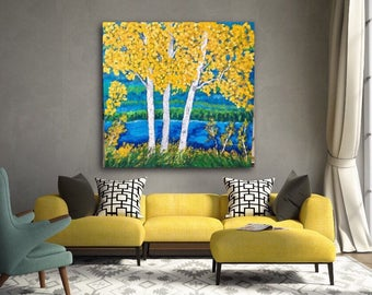 Birch Aspen Tree Lake  Extra Large Acrylic Painting on 48 w x 48 h x 1.25 Gallery Wrapped Ready to Ship  Wall Art