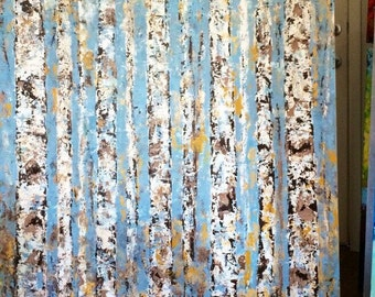 Aspen Birch blue grey Trees Abstract Made To Order Aspen/Birch  Trees.  36 Wide x 48 High Canvas Original Acrylic Painting or any size/color