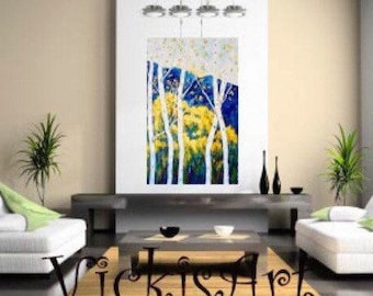 Birch Aspen Original Acrylic Painting 30  x 48 x 1 Gallery wrapped Canvas Ready to Ship