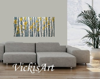 Birch Aspen Grey Yellow  Abstract Autumn Fall Trees Wall Art 48 w x 30 x 1.75 Large Painting ships in 5-7  business days commission
