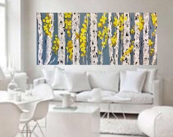 Birch Aspen Grey Yellow  Abstract Autumn Fall Trees Wall Art 48 w x 24 h x 1.75  Large Painting Ready to Ship Free