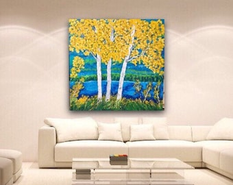 Birch Aspen Extra Large Original Acrylic Painting on 48 w x 48 h x 1.25 Gallery Wrapped Ready to Ship