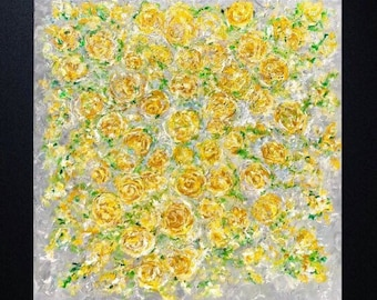 Textured Floral Yellow Grey Roses  Large Original Ready To Hang Painting on 48 w x 48 h x 1.25