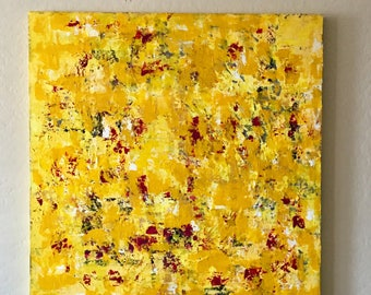 Textured Large Abstract Painting on Canvas. READY TO HANG Extra Large Painting - Wall Art, Modern Yellow, Green, Crimson 36x36