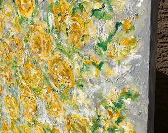 Textured Yellow Floral Roses Extra Large Original Ready To Hang Painting on 48 w x 48 h x 1.25 Gallery Wrapped Wall Art Modern