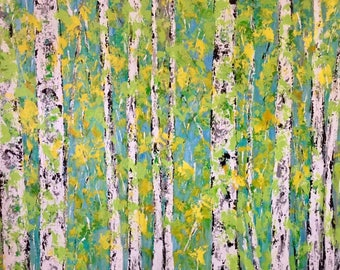 Aspen Birch Trees Extra Large Contemporary  Original Acrylic Painting 48 x 36 x .75 Gallery Wrapped Canvas