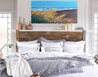 Seascape Oats Reeds Painting 36 x  48 h x 1.25  OR any size canvas custom/commission Ships Free in US in 7 - 10  business days
