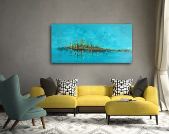 Contemporary Landscape Original Acrylic Painting on 48 w x 24 h x 1.25 Gallery Wrapped Canvas Ships Free US
