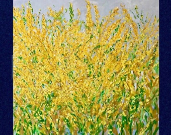 Textured Floral Yellow Green Grey Large Original Gallery Wrapped Painting on 48 w x 48 h x 1.25 Made To Order