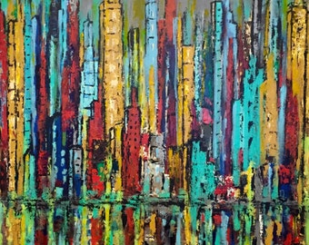 Skyline Abstract original acrylic Painting on Gallery Wrapped Canvas 36 w x 36 x hi x 1.25 in US