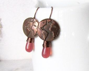Dark Salmon Pink Copper World Map Earrings, Pink Copper Globe Earrings, Copper and Pink World Map Wire Wrapped Earrings